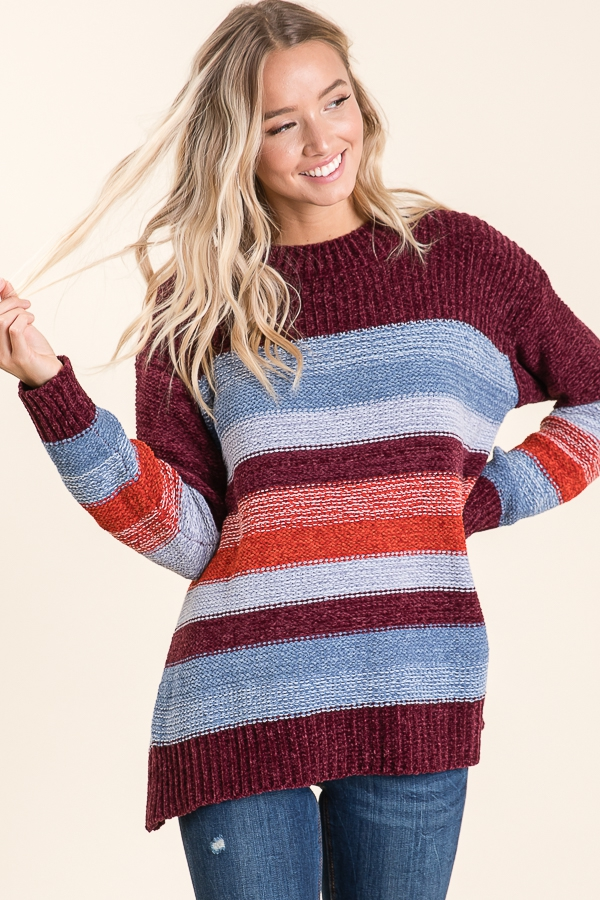 Chenille Multi Color Stripe Pullover - orangeshine.com