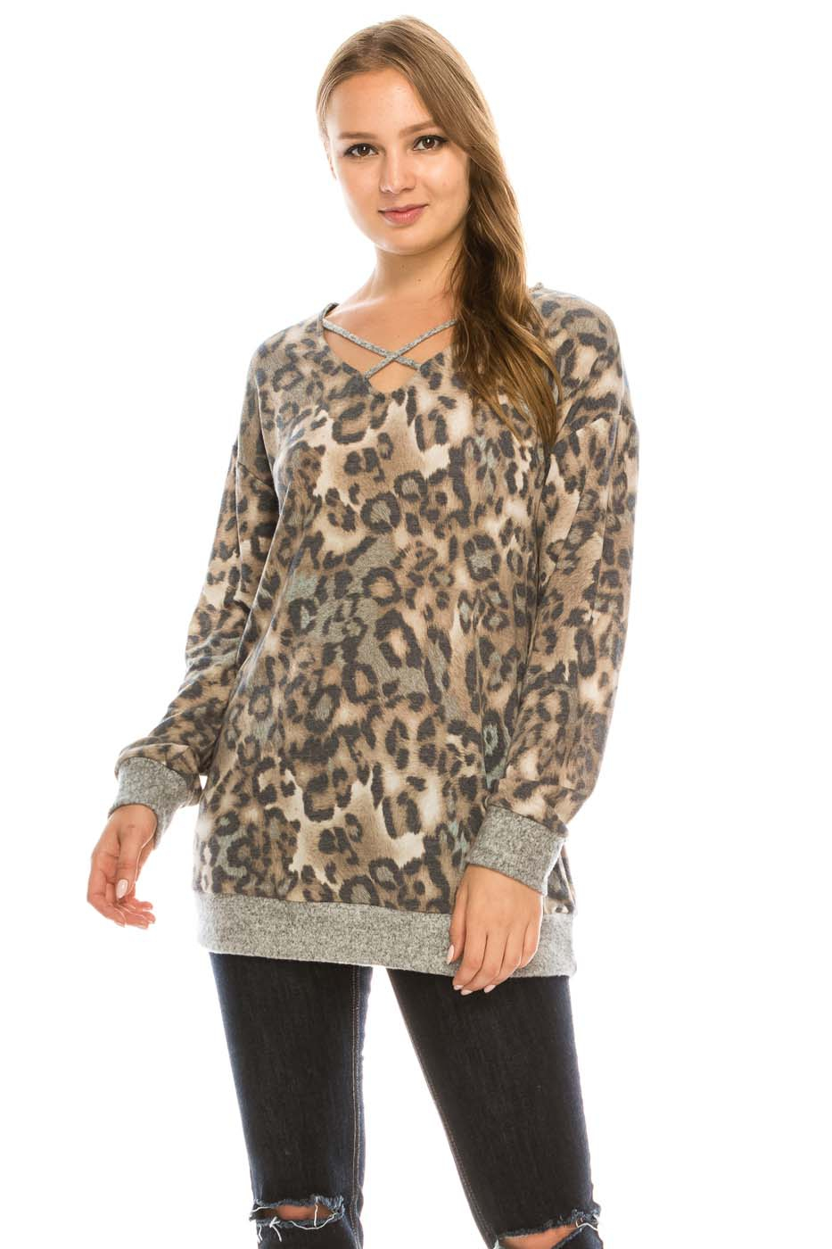 Animal Print Lattice V-Neck Top - orangeshine.com