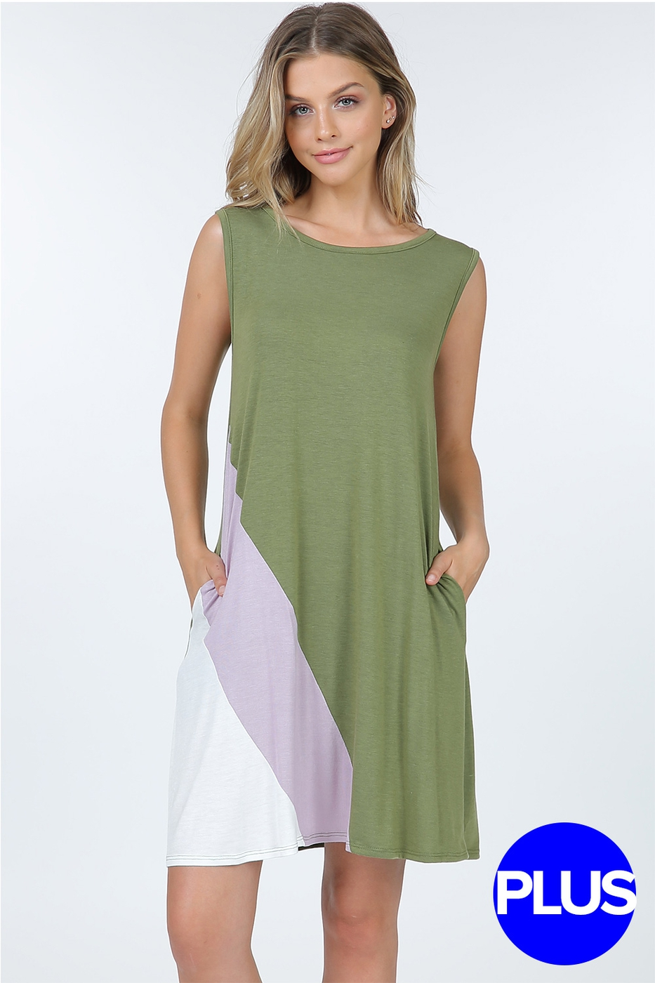 Color Block Tank Dress With Pockets - orangeshine.com