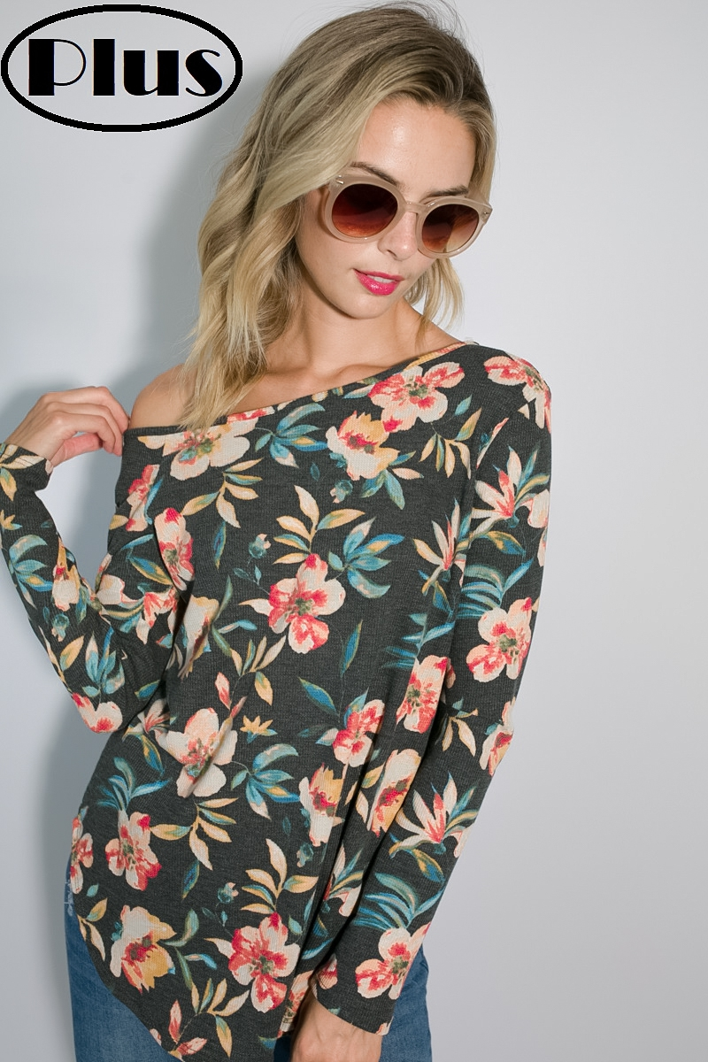 FLORAL THERMAL ONE SHOULDER PLUS TOP - orangeshine.com