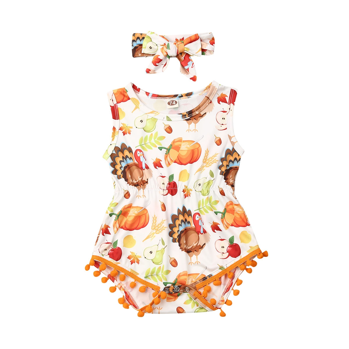 Thanksgiving Romper with Headband - orangeshine.com