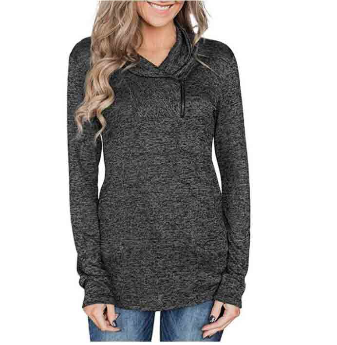 Zipper Cowl Neck Long Sleeve Sweatshirts - orangeshine.com