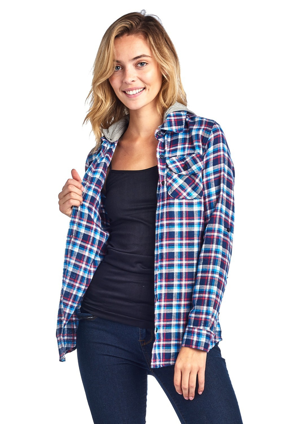 Flannel Plaid Shirt with Hood - orangeshine.com