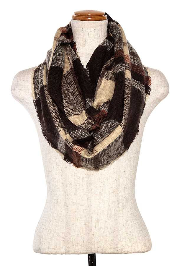 PLAID PATTERN INFINITY SCARF  - orangeshine.com