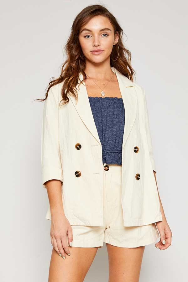 LINEN CUFFED SLEEVE SUITING BLAZER - orangeshine.com