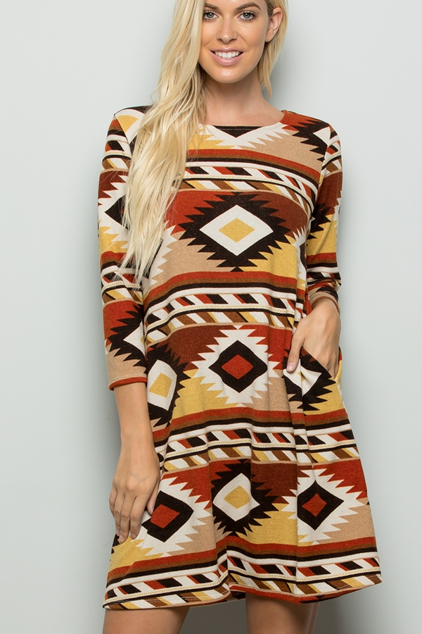 AZTEC PRINT DRESS WITH SIDE POCKET - orangeshine.com