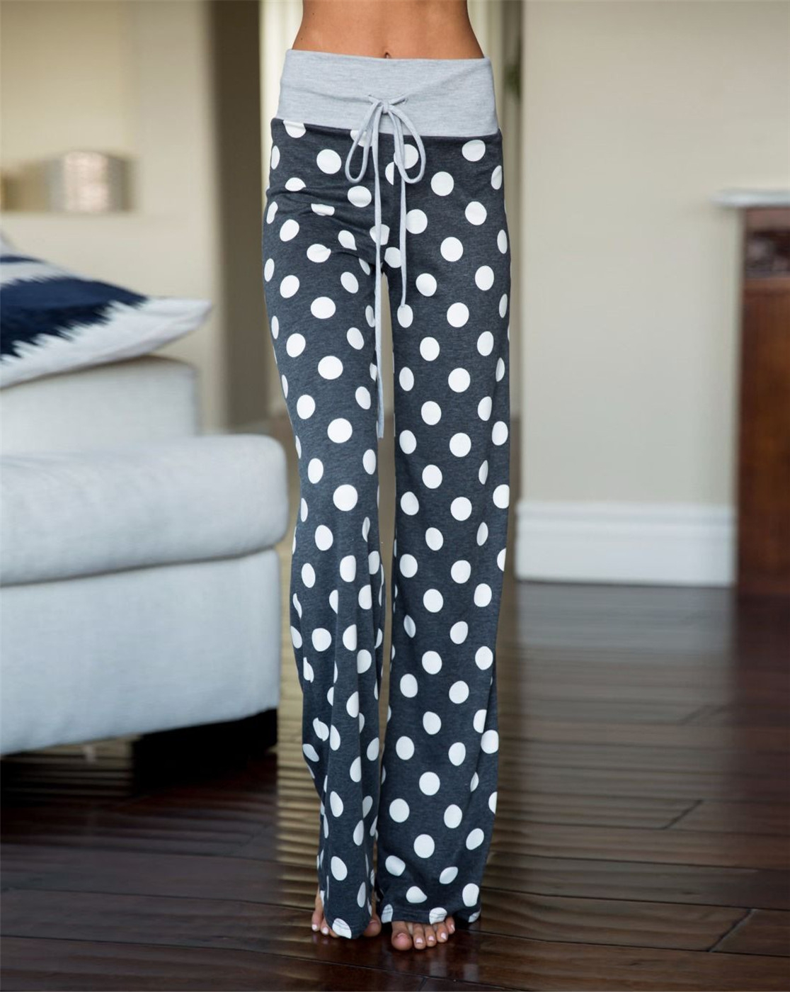 Polka Dot Wide Leg Drawstring Pants - orangeshine.com