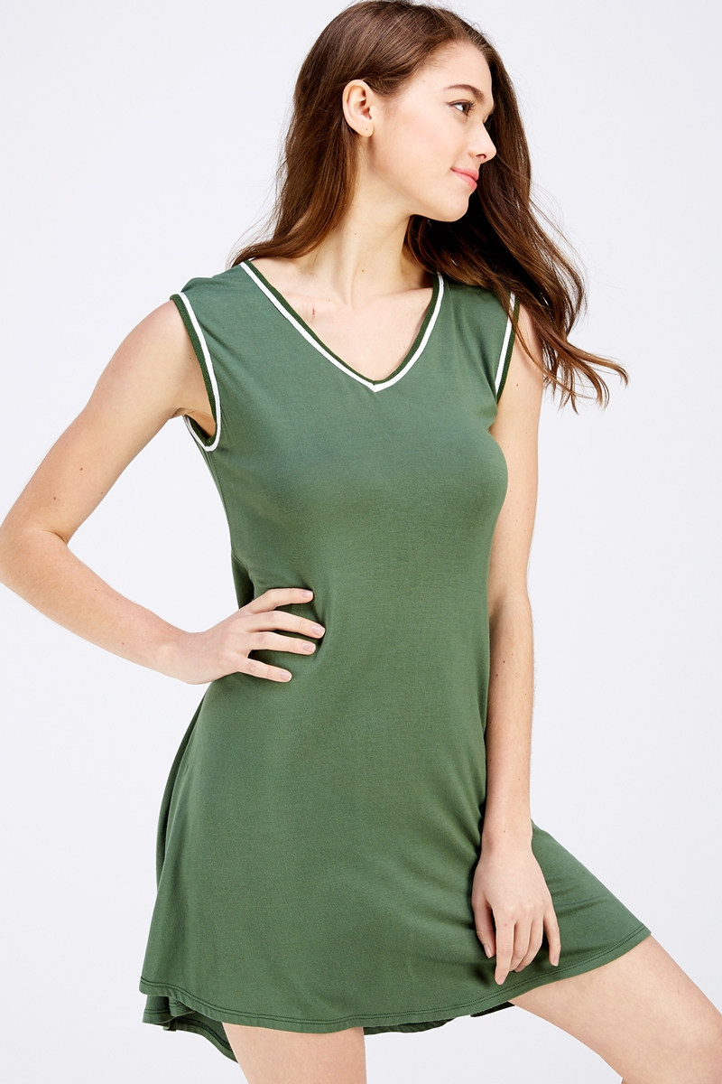 V Neck Sleeveless Knit Dress. - orangeshine.com
