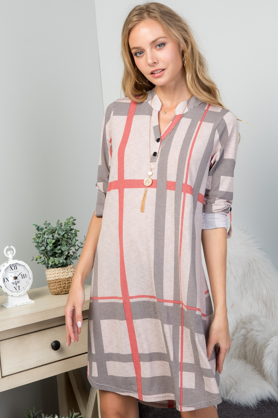 MANDARIN COLLAR PLAID TUNIC DRESS - orangeshine.com