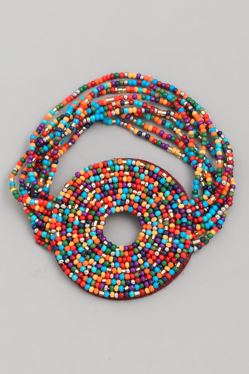 Beaded Multi Strand Disc Bracelet - orangeshine.com