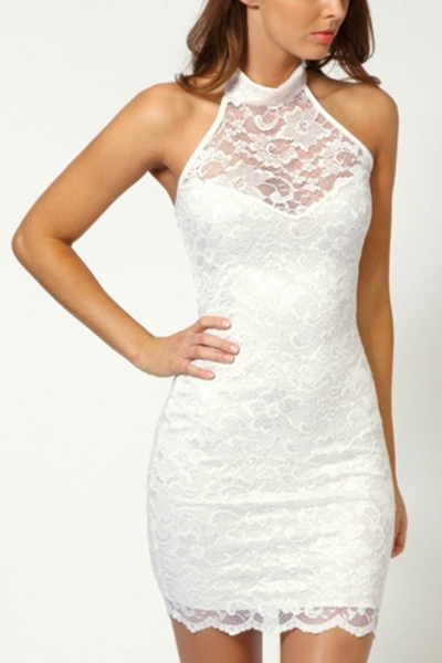 sexy lace hanging neck dress - orangeshine.com