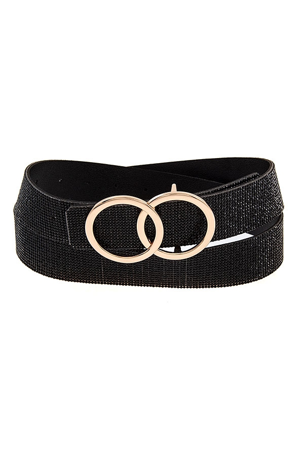 DOUBLE RING RHINESTONE PAVE BELT  - orangeshine.com