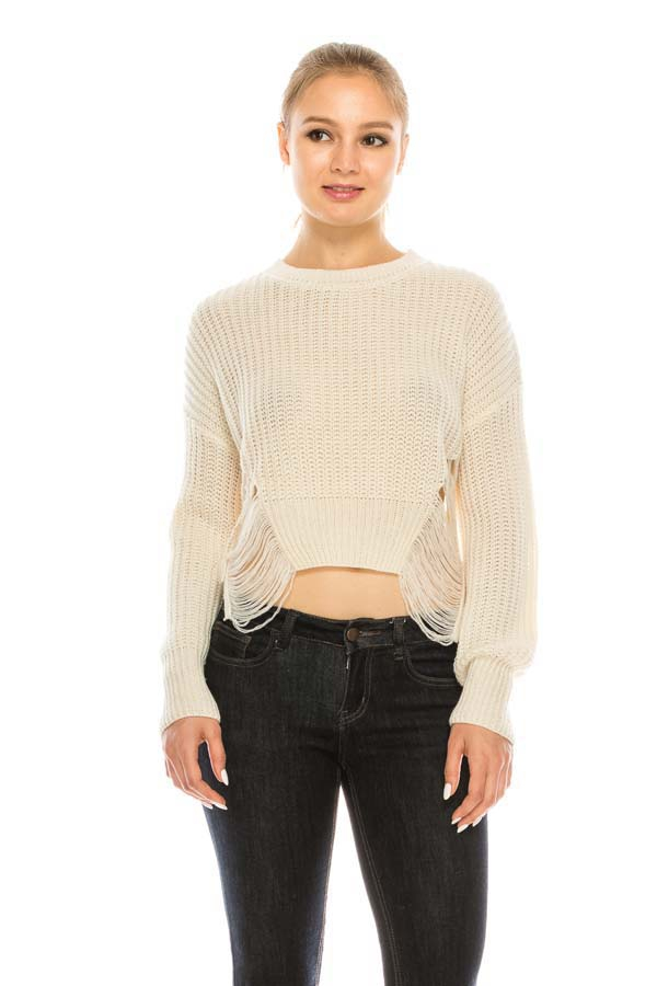Destroyed High-Low Sweater Top - orangeshine.com