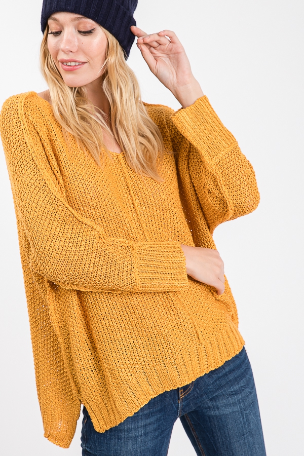 V-NECK LONG SLEEVE SEAM SWEATER - orangeshine.com