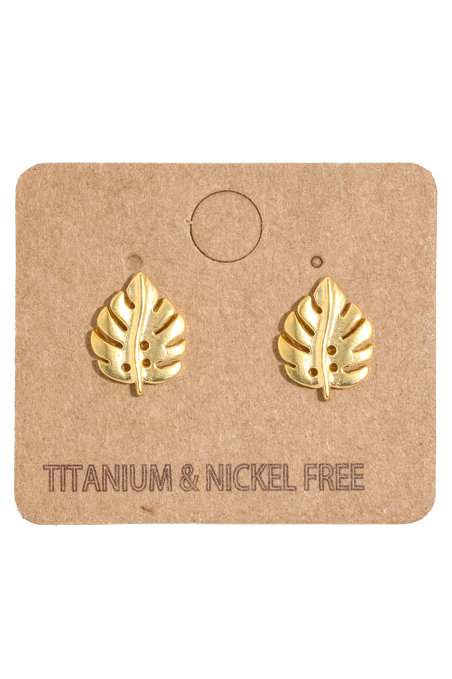 Mini Monstera Leaf Stud Earrings - orangeshine.com