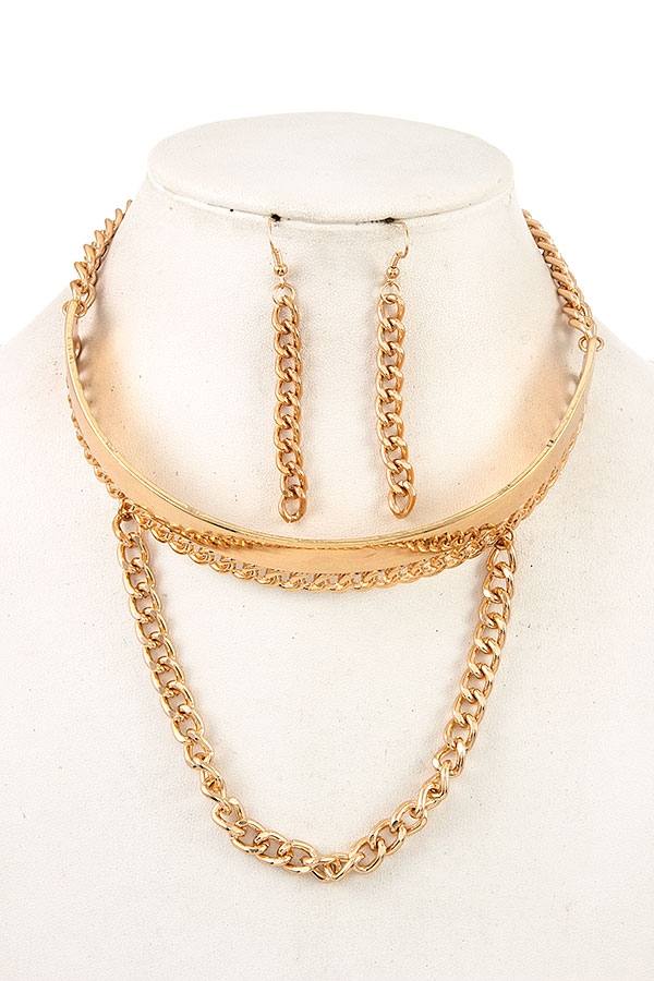 METAL ACCENT LINK DRAPPED CHAIN NECK - orangeshine.com