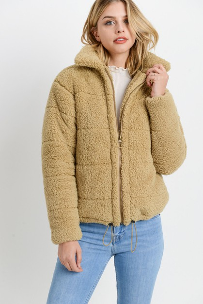Fur Zipper Jacket  - orangeshine.com
