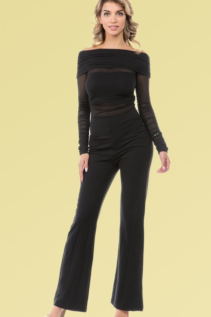 OFF THE SHOULDER MESH TOP JUMPSUIT - orangeshine.com