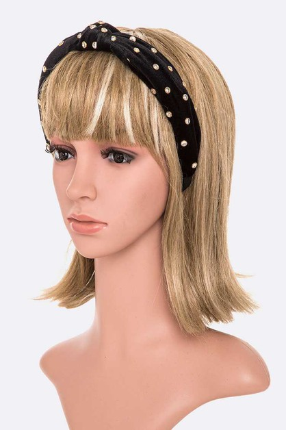Crystal Studded Velour Headband - orangeshine.com