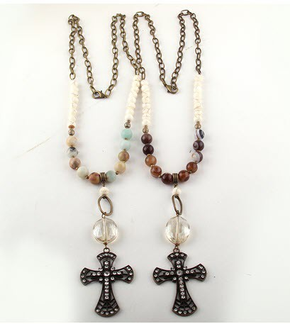 Stone Glass Cross pendant - orangeshine.com