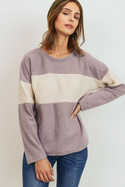 Brushed Contrasted Long Sleeves Top - orangeshine.com
