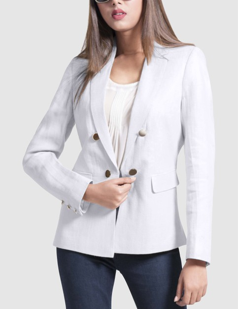 Womens Double Breasted Linen Blazer - orangeshine.com