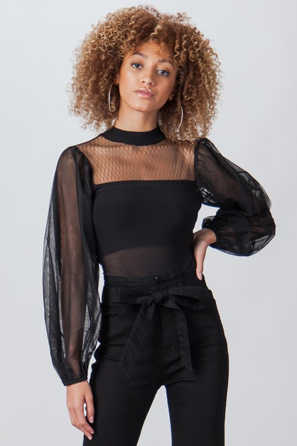 SHEER BODYSUIT W LONG TULLE SLEEVES - orangeshine.com