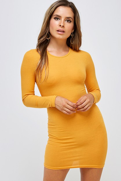 Ribbed Crew Neck Dress - orangeshine.com