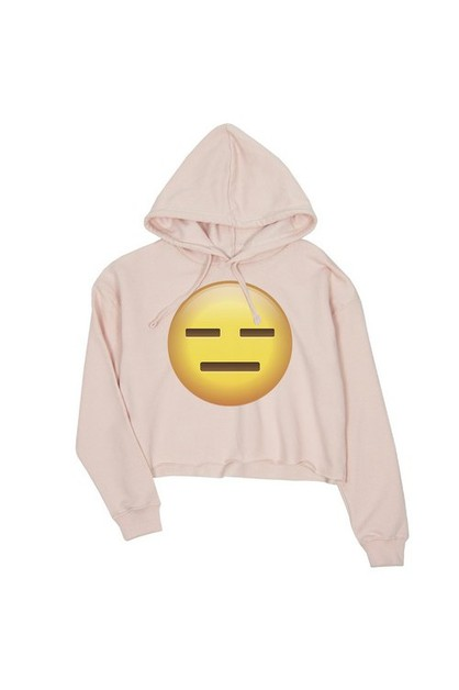 JCH068XX Emoji-Emotionless Crop Hood - orangeshine.com