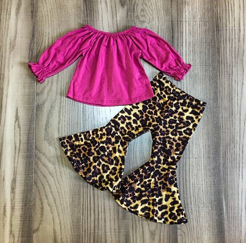 Peasent top leopard bell bottom set - orangeshine.com
