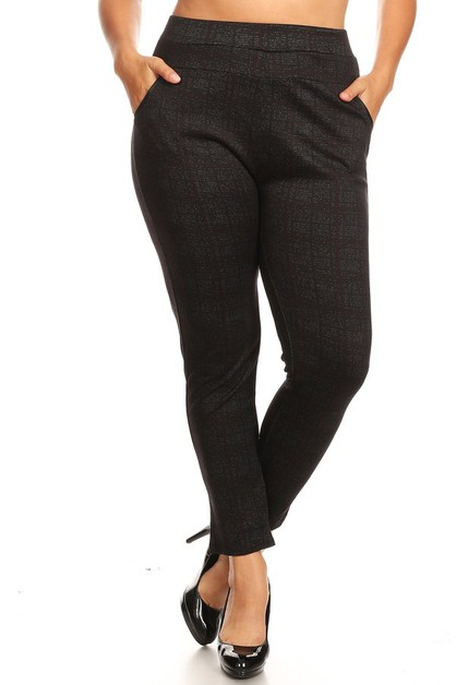 Black Plus Size Slim Pants Treggings - orangeshine.com