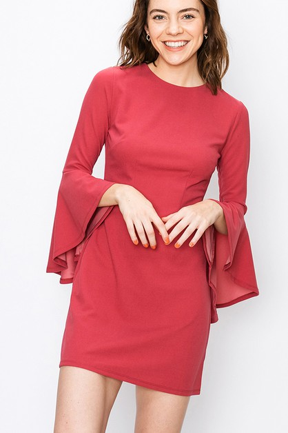 FLARE SLEEVE A-LINE DRESS - orangeshine.com