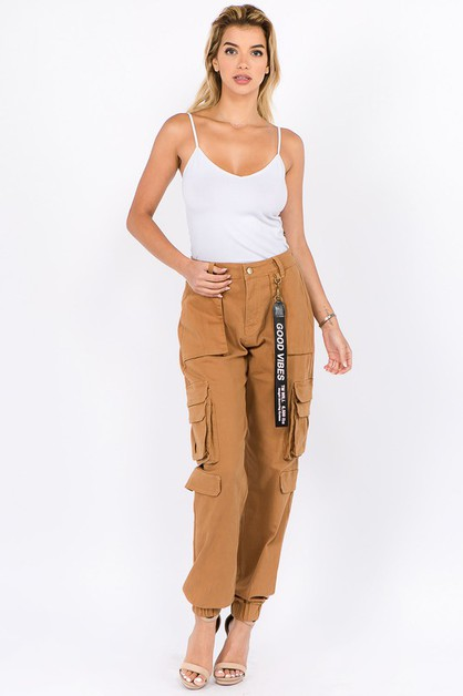 HIGH WAIST JOGGERS WITH CARGO POCKET - orangeshine.com