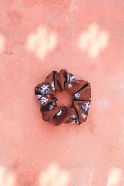 Brown Floral Scrunchie - orangeshine.com