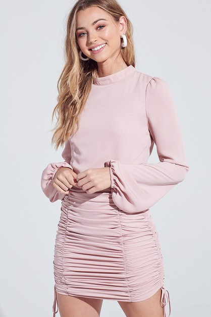 RUCHED LONG SLEEVE MINI DRESS  - orangeshine.com