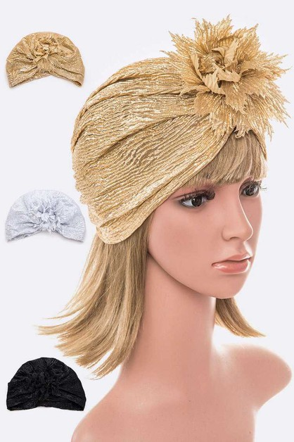 Lame Flower Turban Set - orangeshine.com
