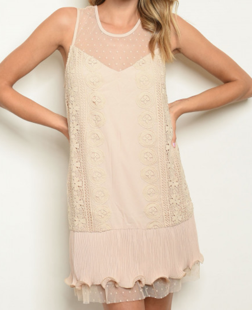 Lace Sleeveless Dress - orangeshine.com