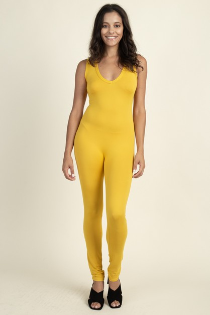 Solid Bodycon Jumpsuit - orangeshine.com