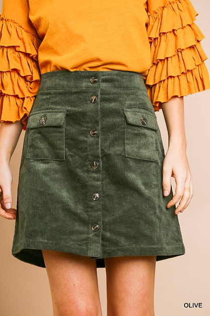 High Waist Corduroy A-Line Skirt  - orangeshine.com