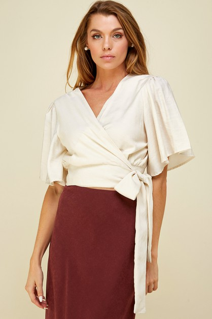 Surplice wrap cropped shirt - orangeshine.com