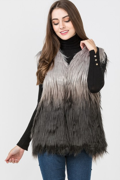GREY OMBRE FUR VEST - orangeshine.com