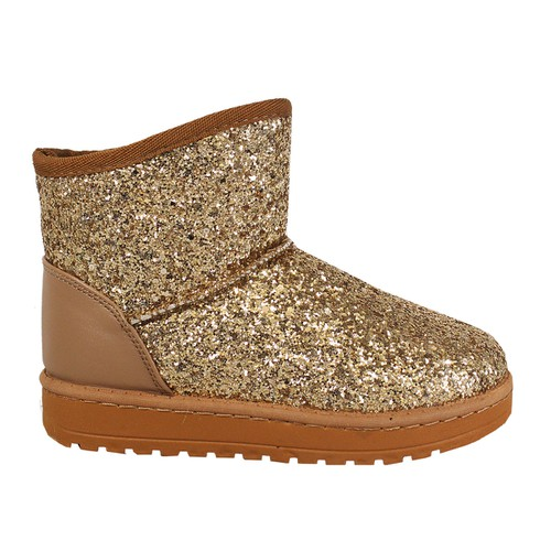 GLITTER SLIP ON UGG LOOK ANKLE BOOT - orangeshine.com