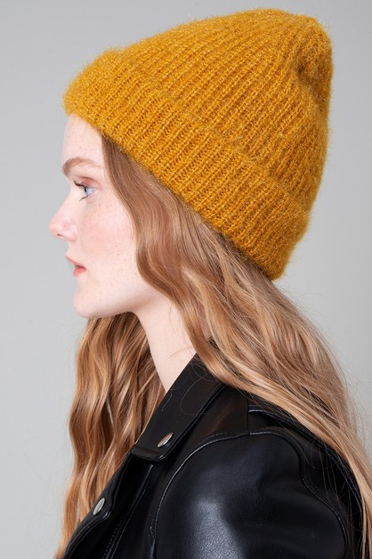 Solid Textured Beanie - orangeshine.com