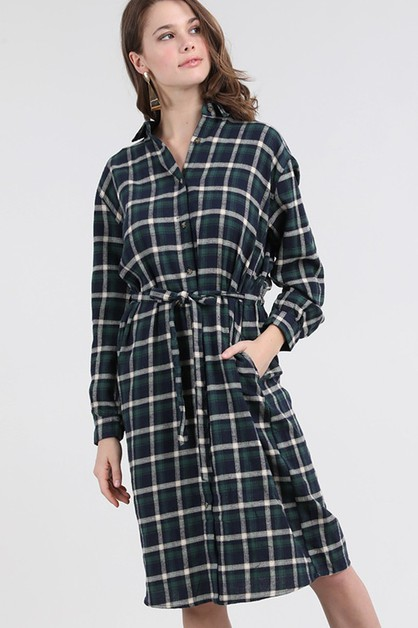 PLAID BUTTON DOWN SHIRT DRESS - orangeshine.com