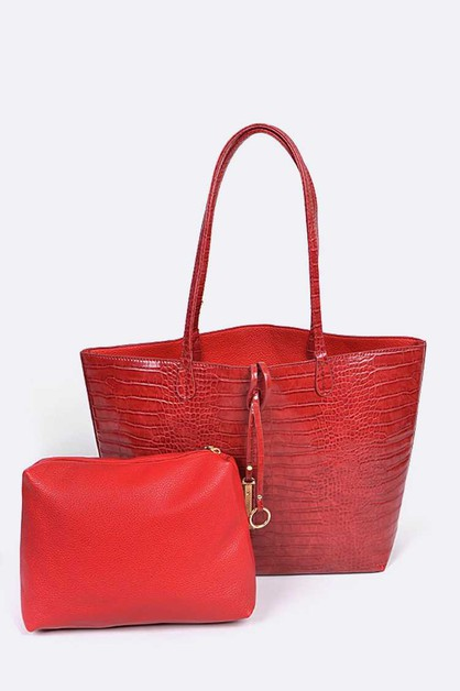 Crocodile Embossed 2 In 1 Tote - orangeshine.com