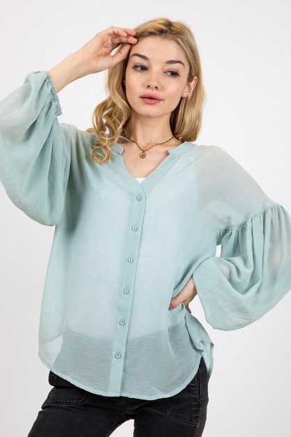 LOOSE FIT SOLID BLOUSE WITH SHIRRING - orangeshine.com