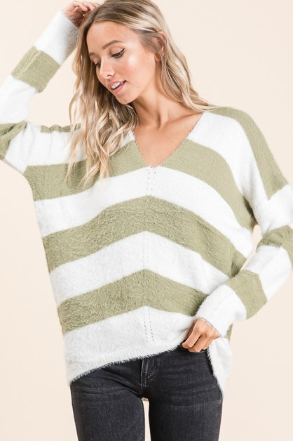 Soft Fuzzy Stripe Sweater - orangeshine.com