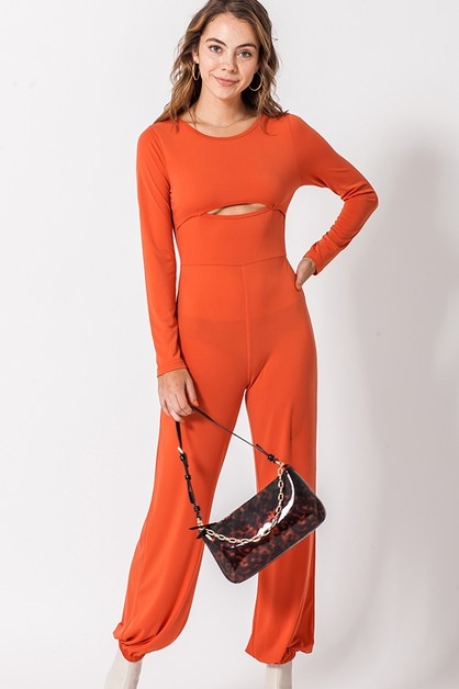 LONG SLEEVE JUMPSUIT WITH FRONT CUT - orangeshine.com