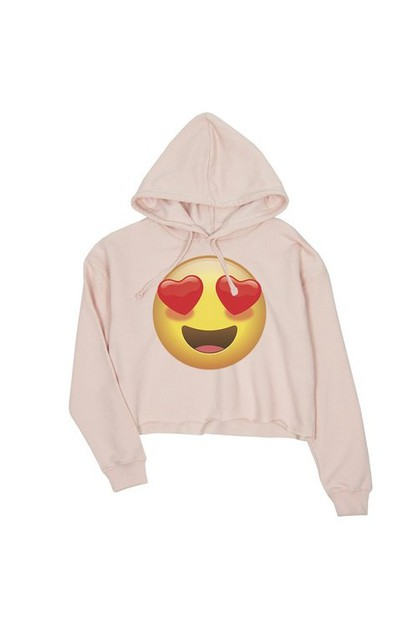 JCH069XX Emoji-Heart Eyes Crop Hoodi - orangeshine.com