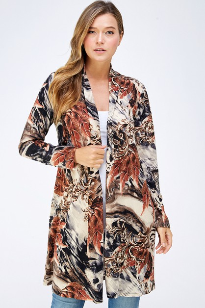 PRINTED KNIT SWEATER CARDIGAN - orangeshine.com